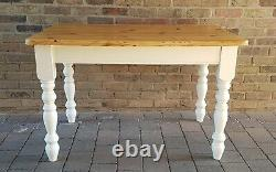 Quality Shabby Chic Small Solid Pine Farmhouse Kitchen Table & 4 Matching Chairs