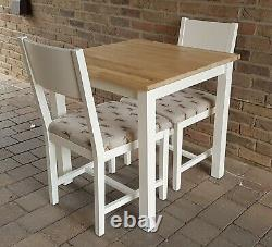 Quality Shabby Chic Small Square Solid Beech Table & 2 Matching Chairs
