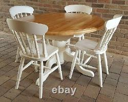 Quality Shabby Chic Solid Pine Round Extending Table & 4 Matching Chairs