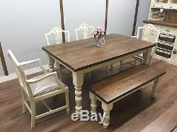 RUSTIC FARMHOUSE 5ft Shabby Chic PINE Table Chairs And Bench Country Cottage NEW