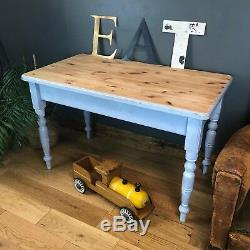 RUSTIC Painted Pine TABLE FARMHOUSE COUNTRY Blue KITCHEN DINING Shabby Chic