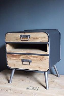 Retro Industrial Bedside Cupboard Cabinet with drawers Shabby Chic Metal Wood