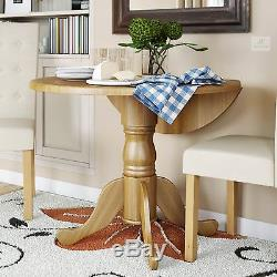 Round Dining Table Drop Leaf Solid Wood Shabby Chic Kitchen French Country Small