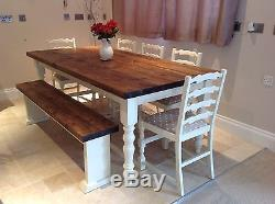 Rustic 6ft Farmhouse Table Shabby Chic Painted Pine Oak Chairs and Bench
