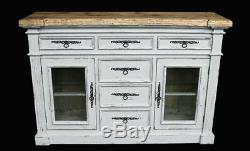 Rustic Country Farmhouse Distressed Shabby Chic Chalk White Curio Sideboard