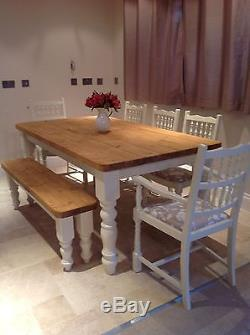 Rustic Farmhouse Shabby Chic Solid Dining Table Bench Chairs Delivery Available