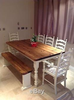 Rustic Farmhouse Table Shabby Chic Painted Oak Chairs And Bench
