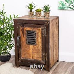 Rustic Industrial Wooden Storage Cabinet Metal Unit Shabby Vintage Chic Office
