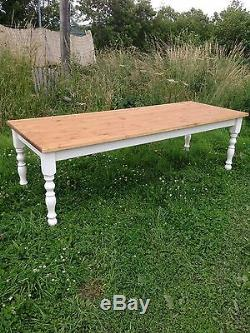 Rustic Pine Farmhouse table 8 foot by 3 foot 10 seater shabby chic