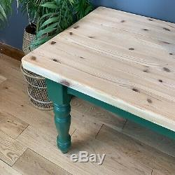 Rustic Rectangle Pine Table Farmhouse Country KItchen Dining Shabby Chic Green