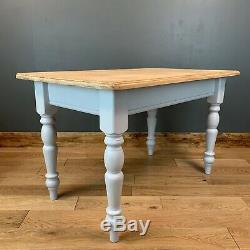 Rustic Rectangle Pine Table Farmhouse Country KItchen Dining Shabby Chic Grey