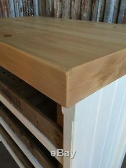 Rustic Wooden Pine Freestanding Shabby Chic Kitchen Island Painted In Any Colour