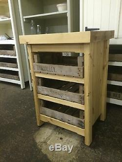 Rustic Wooden Waxed Pine Freestanding Island Shabby Chic Cafe Bar Shop Table