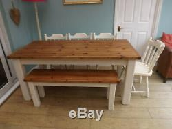 Rustic pine farmhouse kitchen dining table and chairs and bench shabby chic