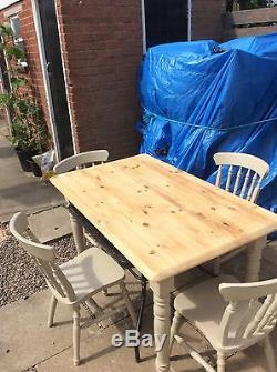 Rustic shabby chic bevelled edged kitchen table and chairs
