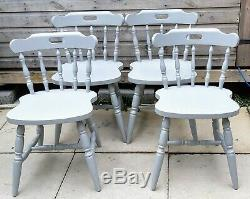 Rustic shabby chic round pedestal kitchen/ Dining table and 4 chairs