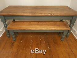 Rustic solid pine farmhouse kitchen dining table and bench shabby chic