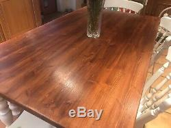 Rustic solid pine farmhouse kitchen dining table and chairs bench shabby chic