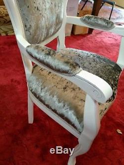 SHABBY CHIC ITALIAN ROCOCO FRENCH TABLE AND 6 CHAIRS SILVER Crushed Velvet white