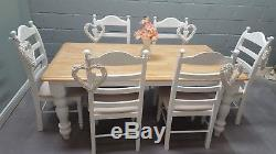 Shabby Chic 6FT Farmhouse Table And Chairs Beige/Cream pads- Delivery available