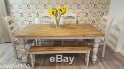 Shabby Chic 6ft x 3ft Table and 4 chair/bench set Delivery available