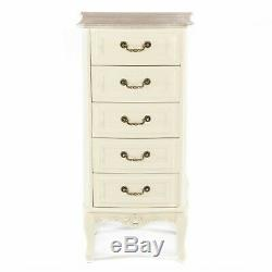 Shabby Chic Antique White French Country 5-drawer Tall Boy Chest Drawers