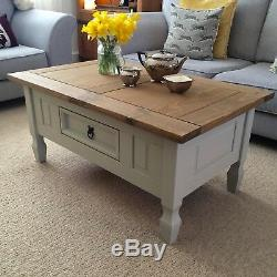 Shabby Chic Coffee Table In Farrow & Ball French Grey Solid Pine Drawer Next