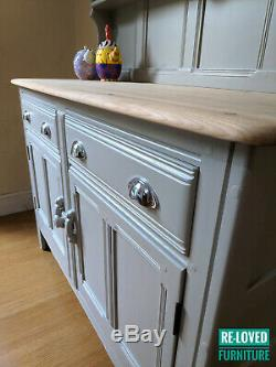 Shabby Chic Ercol Solid Elm Welsh Dresser Sideboard Painted F&B Hardwick