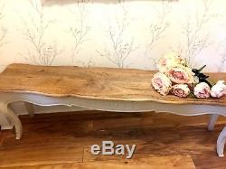 Shabby Chic French Country Dining Table Solid Wood Antique Cream Bench Seat