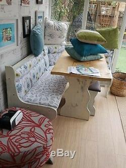 Shabby Chic KITCHEN DINING CORNER SEATING BENCH 2 STOOLS WITH STORAGE