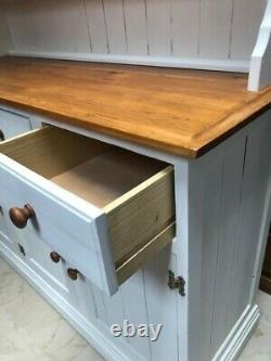Shabby Chic Large Antique White Chalk Painted Solid Pine Wood Welsh Dresser