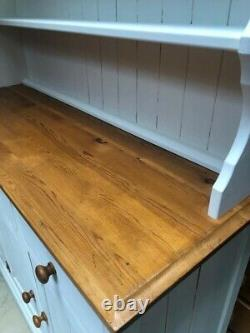 Shabby Chic Large Antique White Solid Pine Wood Welsh Dresser