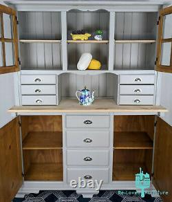 Shabby Chic Large Pine Welsh Dresser Kitchen Sideboard Painted -Hardwick White