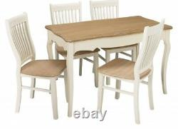 Shabby Chic Off White Country Wood Rose Dining Kitchen Table (table Only)