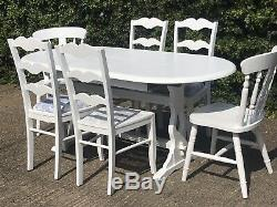 Shabby Chic Oval Extends Table & 6 French Chairs Painted White Bergere Farmhouse