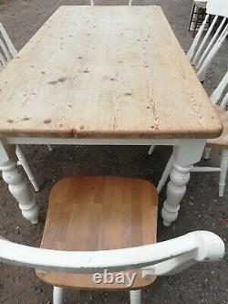 Shabby Chic Pine Farmhouse Kitchen Table And Chairs