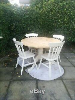 Shabby Chic Pine Farmhouse Table and 4 Chairs