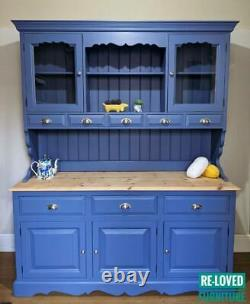 Shabby Chic Pine Welsh Dresser Kitchen Sideboard Pitch Blue CAN BE REPAINTED