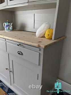 Shabby Chic Rustic Country Pine Welsh Dresser Kitchen Painted Hardwick White