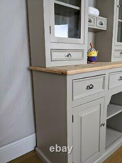 Shabby Chic Rustic Pine Welsh Dresser Kitchen Sideboard -Painted -F&B Light Gray