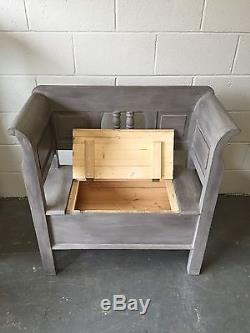 Shabby Chic Scandi Nordic Painted Pine Settle Bench with Storage