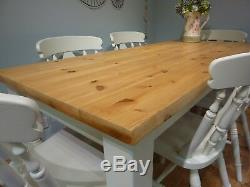 Shabby Chic Solid Pine 5ft 6ft Farmhouse Kitchen Dining Table And 6 Chairs