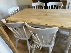 Shabby Chic Solid Pine 5ft Farmhouse Kitchen Dining Table And 6 Chairs