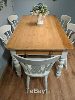 Shabby Chic Solid Pine 5ft Farmhouse Kitchen Dining Table Drawer And 6 Chairs