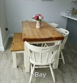 Shabby Chic Solid Pine Farmhouse Dining Table, Bench, & Chairs