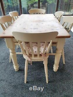 Shabby Chic Solid Pine Farmhouse Kitchen Dining Table And 6 Chairs