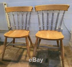 Shabby Chic Solid Pine Farmhouse Table & Chair Set. Small Table 107cm & 2 Chairs