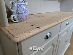Shabby Chic Solid Pine Welsh Dresser Kitchen Sideboard Painted F&B Cream