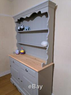 Shabby Chic Solid Pine Welsh Dresser Kitchen Sideboard Painted F&B Grey