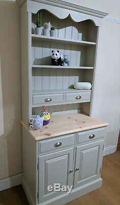 Shabby Chic Solid Pine Welsh Dresser Kitchen Sideboard Painted F&B Old White